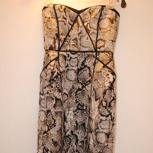 BCBG Jacquard Snakeskin Print Cocktail Dress